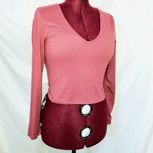 Stretchy Soft Pink Long Sleeve Crop Top